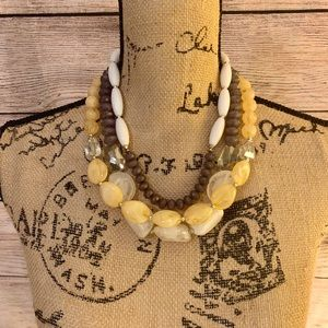 Charming Charlie's Yellow, Gray, & White Necklace